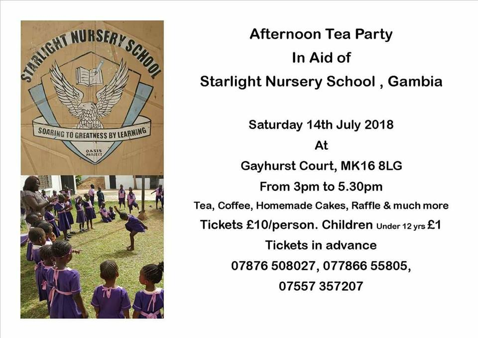 Afternoon Tea in Aid of Starlight Nursery School, The Gambia: Saturday 14 July